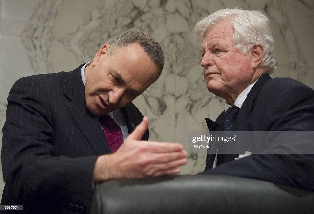 From left, Sen. Charles Schumer, D-N.Y., speaks with Sen. Edward Kennedy, D-Mass., before the start of the Joint Economic Committee hearing on 'What Should the Federal Government Do to Avoid a Recession?' on Wednesday, Jan. 16, 2008.