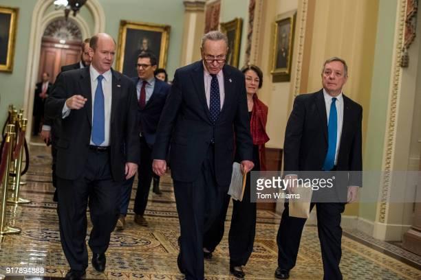 From left Sen Chris Coons DDel Senate Minority Leader Charles Schumer DNY Sen Amy Klobuchar DMinn and Minority Whip Richard Durbin DIll arrive for a...