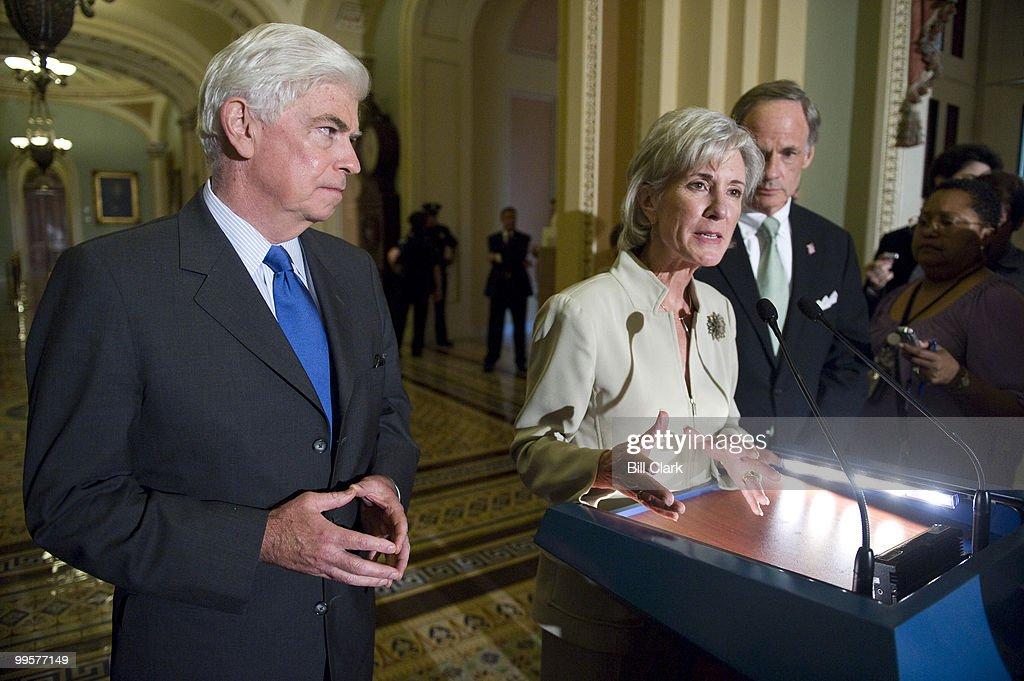 From left, Sen. Chris Dodd, D-Conn., HHS Secretary Kathleen Sebelius and Sen. Tom Carper, D-Del., hold a news conference on healthcare reform in the Ohio Clock Corridor on Thursday, July 23, 2009.