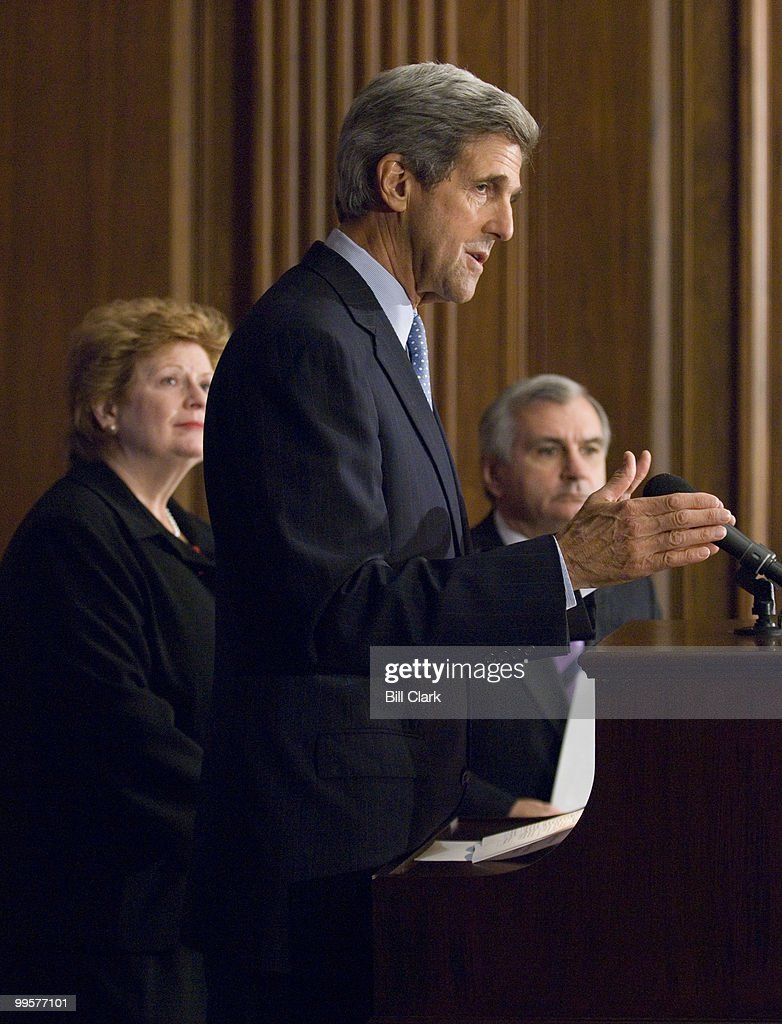 From left, Sen. Debbie Stabenow, D-Mich., Sen. John Kerry, D-Mass., and Sen. Jack Reed, D-R.I., participate in a news conference to call for the renewal of the Children's Health Insurance Program on Thursday, Sept. 27, 2007.