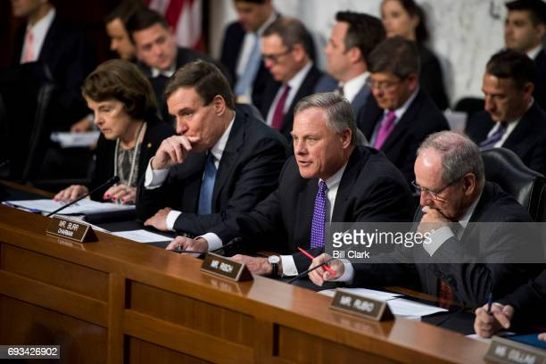 From left Sen Dianne Feinstein DCalif Sen Mark Warner DVa Sen Richard Burr RNC and Sen Jim Risch RIdaho listen to and question intelligence officials...
