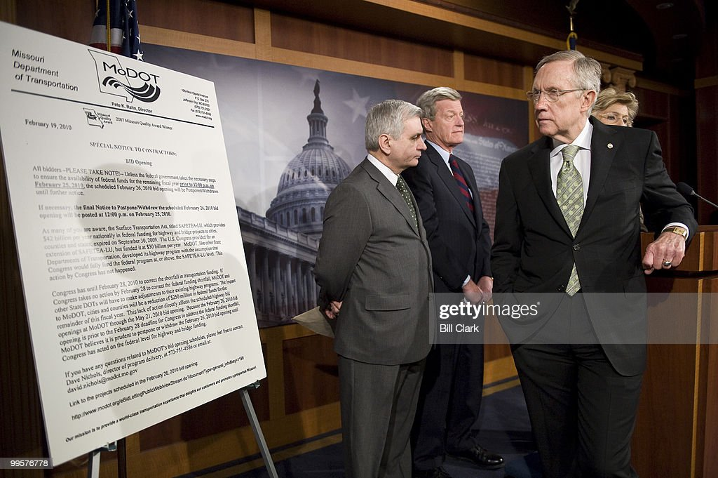 From left, Sen. Jack Reed, D-R.I., Sen. Max Baucus, D-Mont., Senate Majority Leader Harry Reid, D-Nev., and Sen. Barbara Boxer, D-Calif., participate in a news conference with other Senate Democrats after the vote on the jobs bill on Wednesday, Feb. 24, 2010.