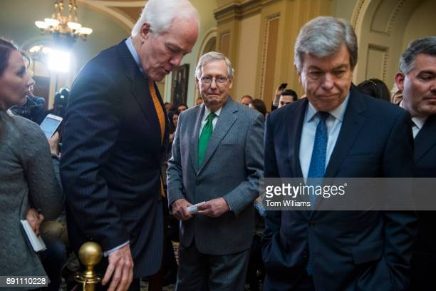 From left Sen John Cornyn RTexas Senate Majority Leader Mitch McConnell RKy Sens Roy Blunt RMo and Cory Gardner RColo conclude a news conference...