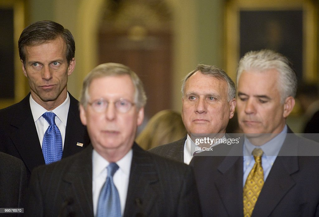 From left, Sen. John Thune, R-S. Dak., Senate Minority Leader Mitch McConnell, R-Ky., Sen. Jon Kyl, R-Ariz., and Sen. John Ensign, R-Nev., speak to reporters following the Senate Republican Policy lunch on Wednesday, Jan. 21, 2009.