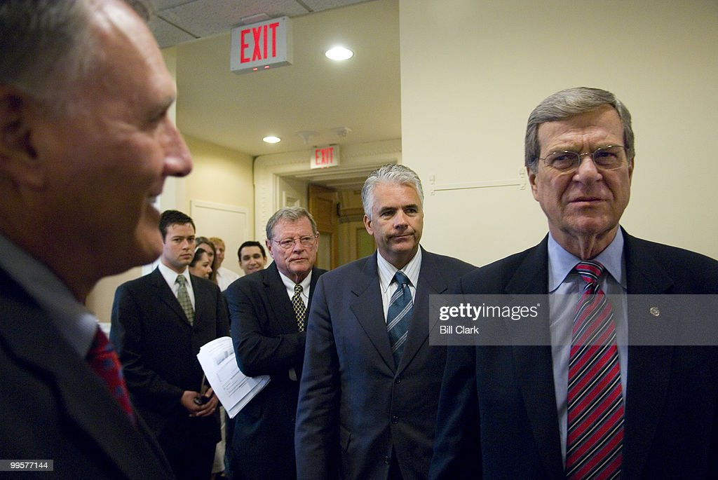 From left, Sen. Jon Kyl, R-Ariz., Sen. James Inhofe, R-Okla., Sen. John Ensign, R-Nev., and Sen. Trent Lott, R-Miss., talk outside of the Senate Radio/TV Gallery studio before their news conference on their opposition to the Law of the Sea Treaty on Wednesday, Oct. 24, 2007.