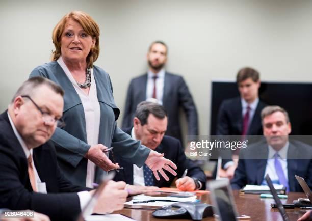 From left Sen Jon Tester DMont Sen Heidi Heitkamp DN Dak Sen Joe Donnelly DInd Sen Mark Warner DVa hold a pen and pad session with reporters in the...