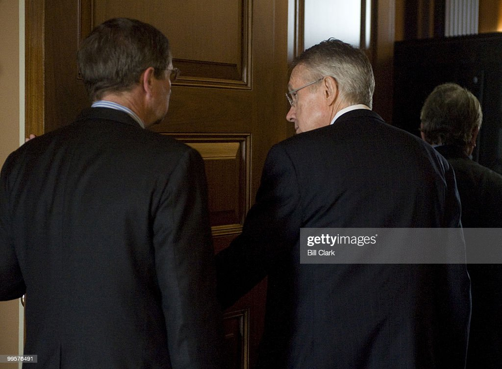 From left, Sen. Kent Conrad, D-N. Dak., and Senate Minority Leader Harry Reid, D-Nev., arrive for the Senate Democratic Policy lunch following the passage of the economic stimulus legislation on the Senate Floor on Tuesday, Feb. 10, 2009.