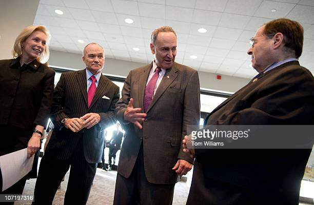 From left Sen Kirsten Gillibrand DNY Ray Kelly NYPD Commissioner Sen Charles Schumer DNY and Rep Jerry Nadler DNY prepare for a news conference to...