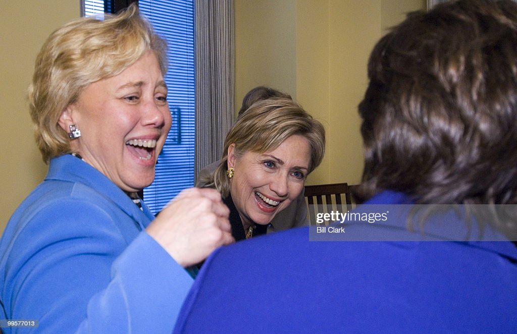 From left, Sen. Mary Landrieu, D-La., and Sen. Hillary Clinton, D-N.Y., laugh with Sen. Susan Collins, R-Maine, during a photo op before the start of the bipartisan Senate Women Power Workshop in Sen. Barabara Mikulski's office on Tuesday, Nov. 14, 2006.