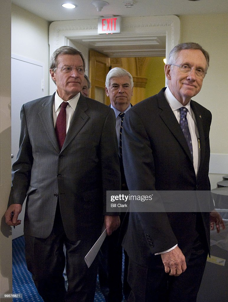 From left, Sen. Max Baucus, D-Mont., Sen. Tom Harkin, D-Iowa, Sen. Chris Dodd, D-Conn., and Senate Majority Leader Harry Reid, D-Nev., arrive for their news conference on the health care reform bill on Saturday, Dec. 19, 2009.