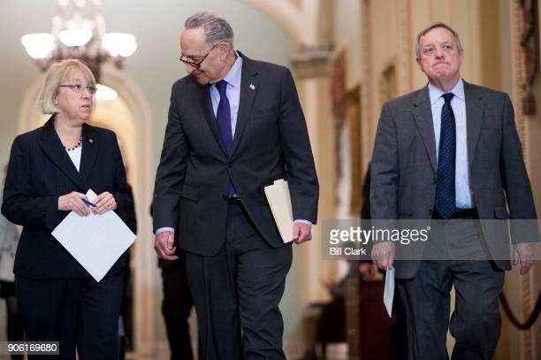 From left Sen Patty Murray DWash Senate Minority Leader Chuck Schumer DNY and Sen Richard Durbin DIll arrive to speak to reporters in the Ohio Clock...