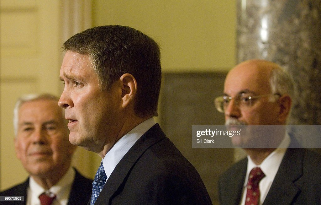From left, Sen. Richard Lugar, R-Ind., Majority Leader Bill Frist, and U.S. Special Envoy to Sudan Andrew Natsios speak to the media following their meeting in Sen. Frist's office on Monday, Sept. 26, 2006.