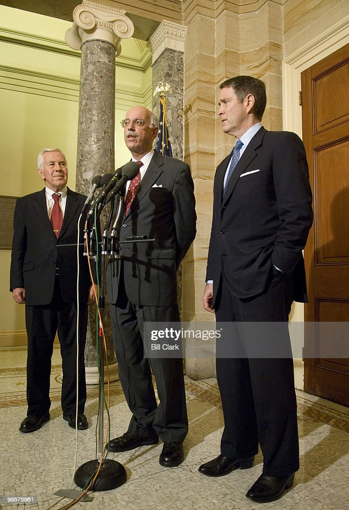 From left, Sen. Richard Lugar, R-Ind., U.S. Special Envoy to Sudan Andrew Natsios and Majority Leader Bill Frist speak to the media following their meeting in Sen. Frist's office on Monday, Sept. 26, 2006.