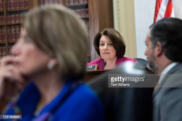 From left, Sen. Shelley Moore Capito, R-W.Va., Chairwoman Amy Klobuchar, D-Minn., and Sen. Ted Cruz, R-Texas, attend the Senate Rules and...