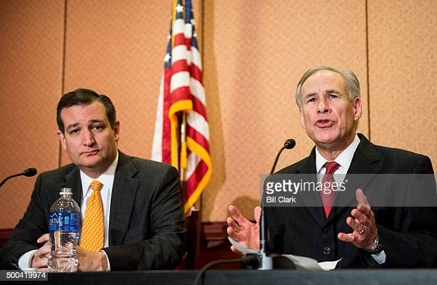 From left Sen Ted Cruz RTexas and Gov Greg Abbott RTexas hold a news conference in the US Capitol to discuss Syrian refugee legislation on Tuesday...