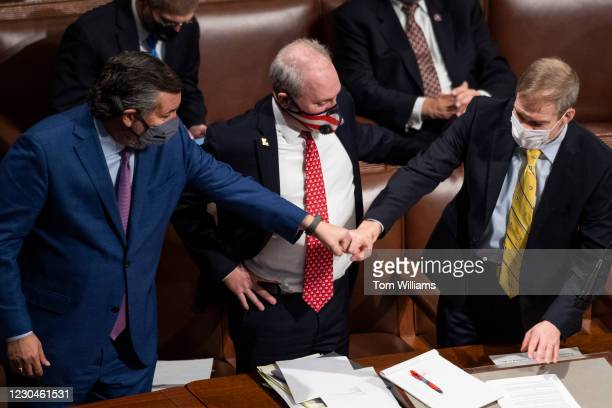 From left, Sen. Ted Cruz, R-Texas, House Minority Whip Steve Scalise, R-La., and Rep. Jim Jordan, R-Ohio, attend the joint session of Congress to...