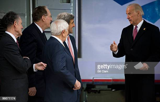 From left, Sen. Ted Kaufman, D-Del, Sen. John Rockefeller, D-W.Va., Sen. Frank Lautenberg, D-N.J., and Sen. John Kerry, D-Mass., speaks with Vice...