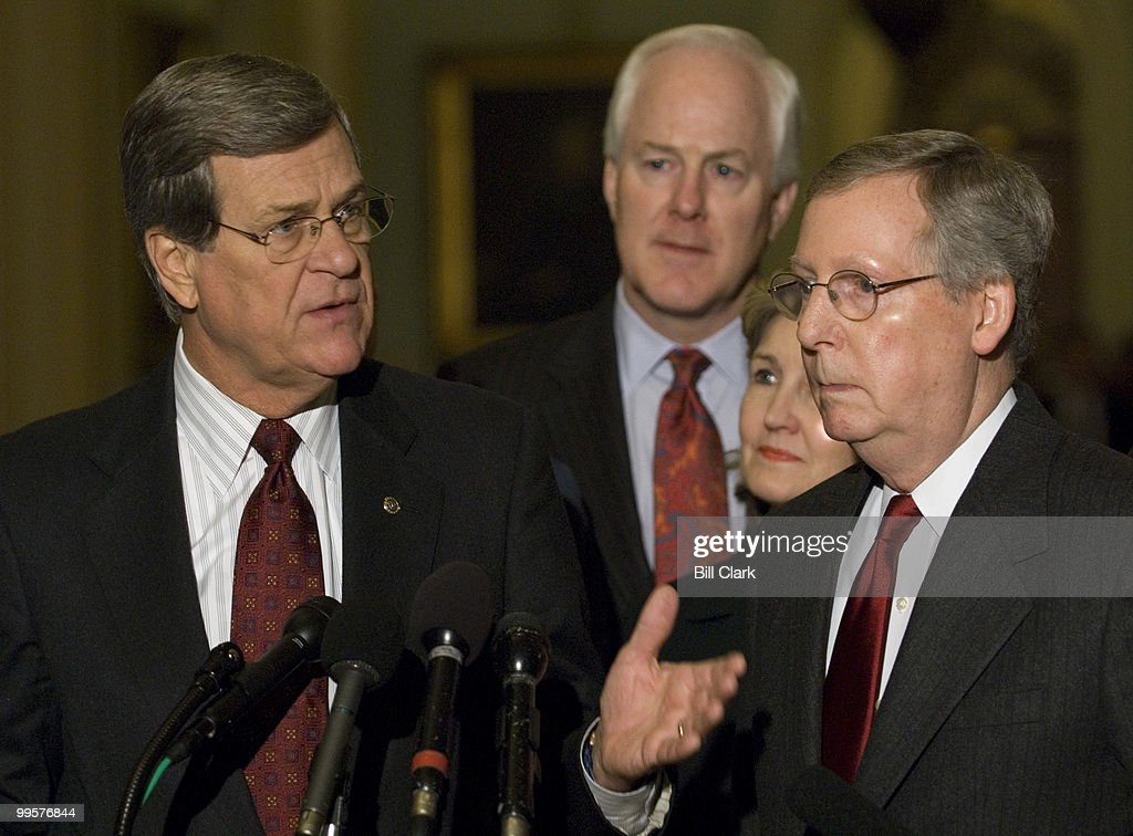From left, Sen. Trent Lott, R-Miss., Sen. John Cornyn, R-Texas, Sen. Kay Bailey Huthcison, R-Texas, and Sen. Mitch McConnell stop at the microphones in the Ohio Clock Corridor to speak with reporters on Tuesday, Jan. 9, 2007.