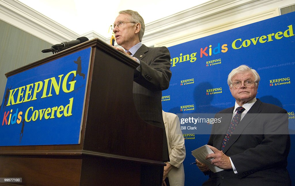 From left, Senate Majority Leader Harry Reid, D-Nev., and Sen. Edward Kennedy, D-Mass., participate in a news conference in support of the State Children's Health Insurance Program expansion on Wednesday, Sept. 26, 2007.