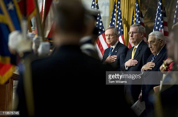 May 3: From left, Senate Majority Leader Harry Reid, D-Nev., Minority Leader Mitch McConnell, R-Ky., and former Secretary of State Henry Kissinger...
