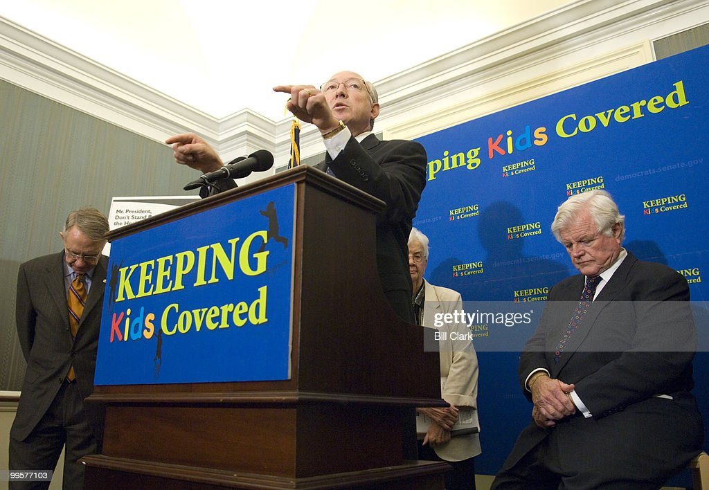 From left, Senate Majority Leader Harry Reid, D-Nev., Sen. Ken Salazar, D-Colo., and Sen. Edward Kennedy, D-Mass., participate in a news conference in support of the State Children's Health Insurance Program expansion on Wednesday, Sept. 26, 2007.