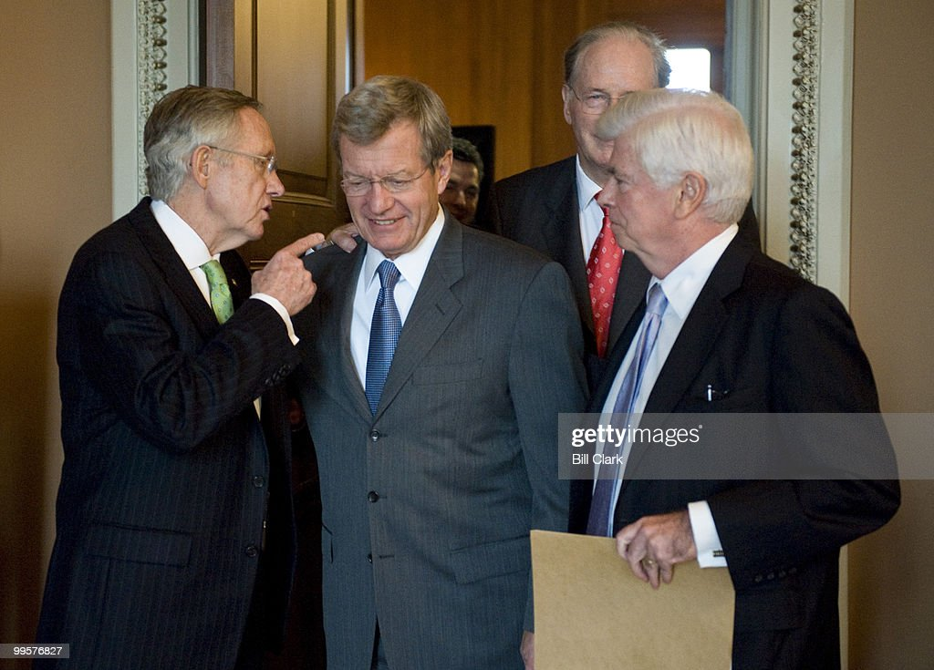 From left, Senate Majority Leader Harry Reid, D-Nev., Sen. Max Baucus, D-Mont., Sen. Chris Dodd, D-Conn., and Sen. Jay Rockefeller, D-W. Va., talks as they leave the Senate Democratic Policy lunch on Tuesday, Oct. 27, 2009.