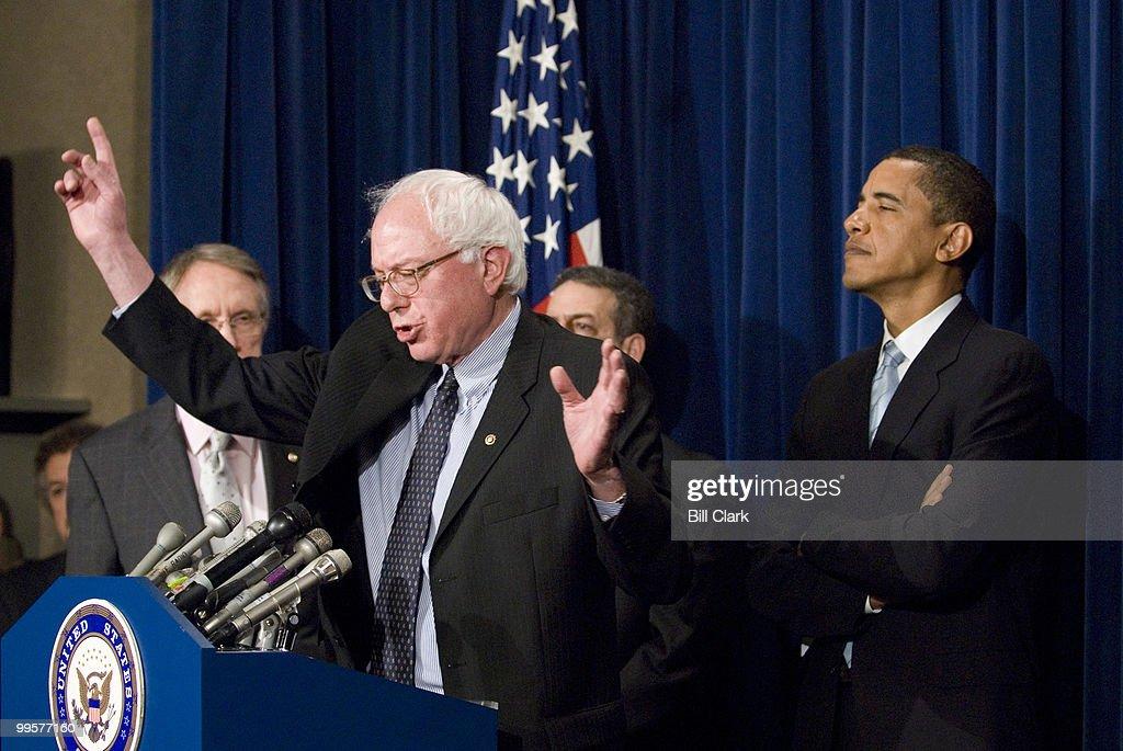 From left, Senate Majority Leader Harry Reid, Sen. Bernie Sanders, I-Vt., Sen. Russell Feingold, D-Wisc., and Sen. Barack Obama, D-Ill., participate in a news conference on Senate ethics reform legislation in the Senate TV studio on Monday Jan. 8, 2006.