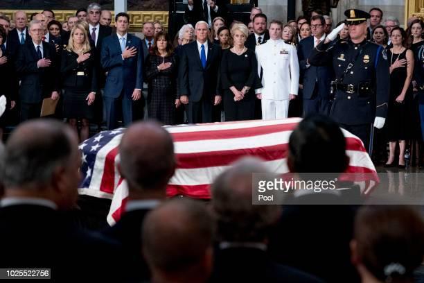 From left, Senate Majority Leader Mitch McConnell of Ky., Janna Ryan, House Speaker Paul Ryan of Wis., Karen Pence, Vice President Mike Pence,...