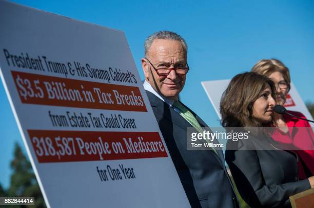 From left Senate Minority Leader Charles Schumer DNY Neera Tanden CEO of the Center for American Progress and Sen Elizabeth Warren DMass conduct a...