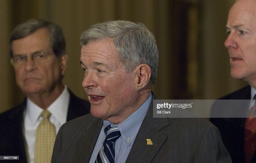 From left, Senate Minority Whip Trent Lott, R-Miss., Sen. Kit Bond, R-Mo., and Sen. John Cornyn, R-Texas, speak to reporters in the Ohio Clock Corridor in the Capitol following the Senate Republican Policy Committee luncheon on Tuesday, May 8, 2007.