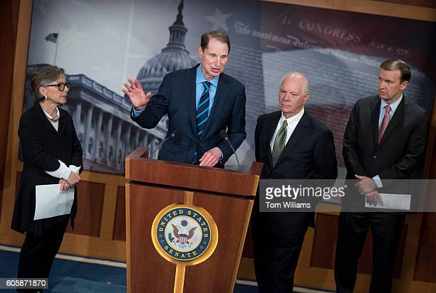 From left, Sens. Barbara Boxer, D-Calif., Ron Wyden, D-Ore., Ben Cardin, D-Md., and Chris Murphy, D-Conn., conduct a news conference in the Capitol...