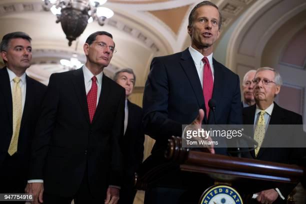 From left Sens Cory Gardner RColo John Barrasso RWyo Roy Blunt RMo John Thune RSD John Cornyn RTexas and Senate Majority Leader Mitch McConnell RKy...