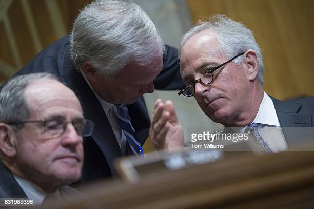From left Sens James Risch RIdaho Ron Johnson RWis and Chairman Bob Corker RTenn are seen during the Senate Foreign Relations Committee confirmation...