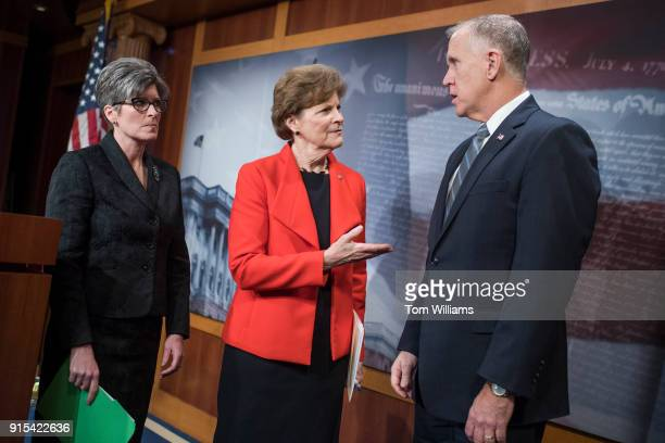 From left Sens Joni Ernst RIowa Jeanne Shaheen DNH and Thom Tillis RNC conduct a news conference in the Capitol on February 7 to announce a...