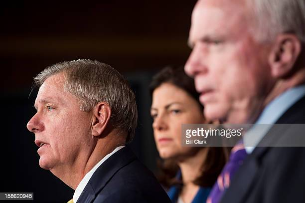 From left, Sens. Lindsey Graham, R-S.C., Kelly Ayotte, R-N.H., and John McCain, R-Ariz., hold a news conference on on Benghazi on Friday, Dec. 21,...