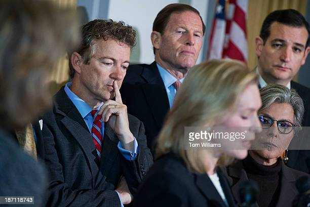 From left, Sens. Rand Paul, R-Ky., Richard Blumenthal, D-Conn., Kirsten Gillibrand, D-N.Y., Barbara Boxer, D-Calif., and Ted Cruz, R-Texas, conduct a...