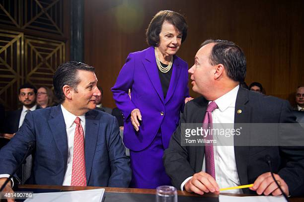 From left Sens Ted Cruz RTexas Dianne Feinstein DCalif and Mike Lee RUtah attend a Senate Judiciary Committee hearing in Dirksen Building titled...