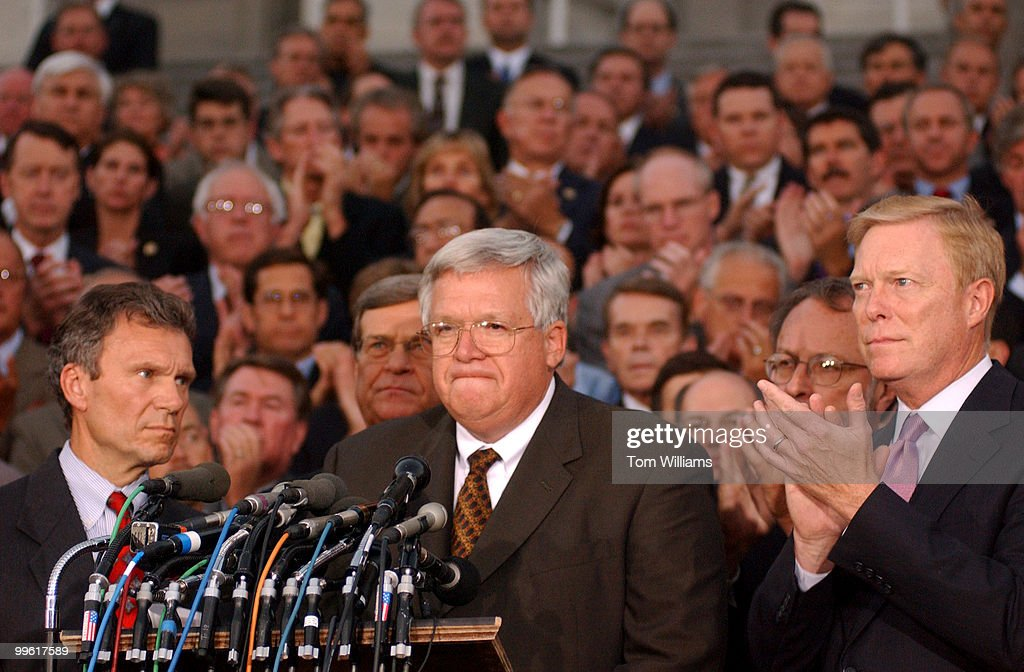 From left, Sens. Tom Dashle, D-S.D., Trent Lott, R-Miss., Speaker Dennis Hastert, R-Ill., Rep. Dave Bonior, D-Mich., Rep. Dick Gephardt, D-Mo., appear with members of the House and Senate gathered on the East Front Steps of the Captiol to speak about the events of the day.