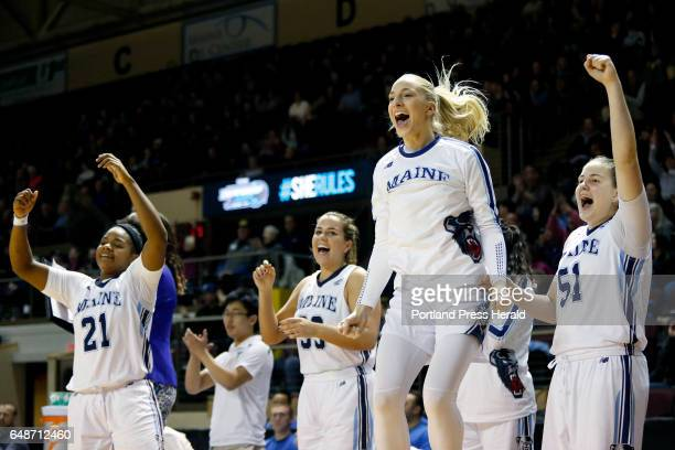 From left Sheraton Jones Kirsten Johnson Tihana Stojsavljeic and Fanny Wadling celebrate after their teammate Sigi Koizar sunk a threepointer late in...