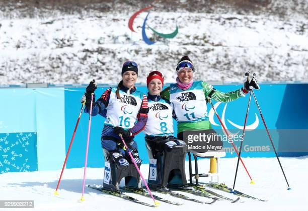 From left silver medalist Oksana Masters of the United States gold medalist Kendall Gretsch of the United States and bronze medalist Lidziya...