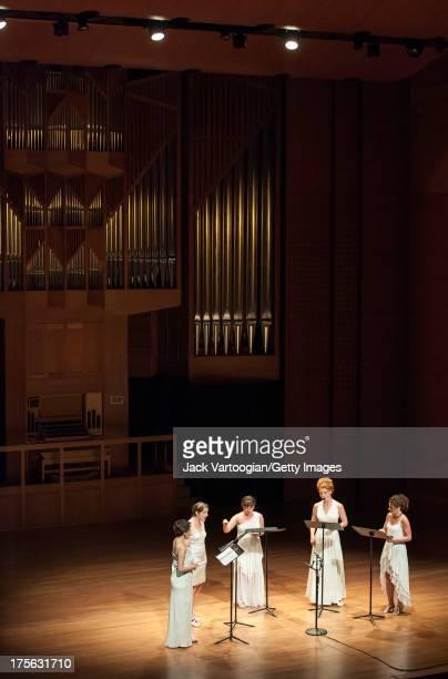 From left singers soprano Jane Sheldon soprano Lisa Bielawa soprano Mellissa Hughes mezzosoprano Abigail Fischer and contralto Kristen Sollek perform...