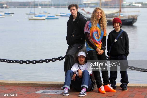 From left skaters and actors in the Jonah Hill film Mid90s Ryder McLaughlin Gio Galicia Olan Prenatt and Sunny Suljic pose for a portrait in Boston...
