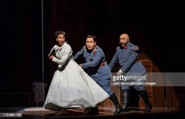 From left South African soprano Pretty Yende Mexican tenor Javier Camarena and Italian baritone Alessandro Corbelli perform during the final dress...