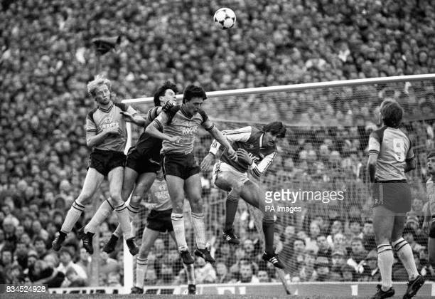 From left Southampton's Mark Wright goalkeeper Eric Nixon and Mark Blake and Arsenal's Tony Adams in a goalmouth scramble