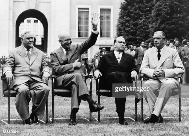 From left Soviet chairman of the Council of Ministers Nikolai Boulganine US President Dwight Eisenhower French President of the Council Ministers...