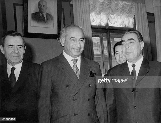 From left Soviet Foreign Minister Andrei Andreevich Gromyko Pakistani President Zulfikar Ali Bhutto and Soviet Head of State Leonid Ilich Brezhnev...