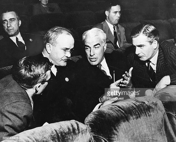 From left Soviet Minister Vyacheslav M Molotov US Secretary of State Edward Stettinius and British Secretary for Foreign affairs Anthony Eden talk...