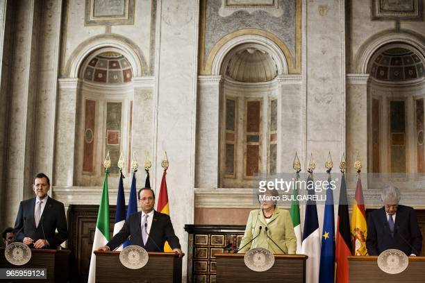 From left Spanish Prime Minister Mariano Rajoy French President Francois Hollande German Chancellor Angela Merkel and Italian Prime Minister Mario...