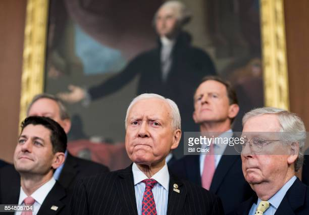 From left Speaker of the House Paul Ryan RWisc Senate Finance Committee chairman Orrin Hatch RUtah and Senate Majority Leader Mitch McConnell RKy...