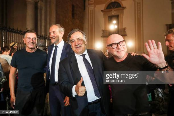 From left, Stefano Gabbana, Piero Capizzi mayor of Monreale, Leoluca Orlando, mayor of Palermo and Domenico Dolce at the end of the fashion show in...
